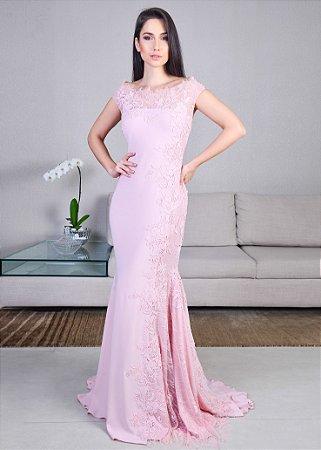 Vestido Longo de Crepe com Guipir Pronovias - Rosa