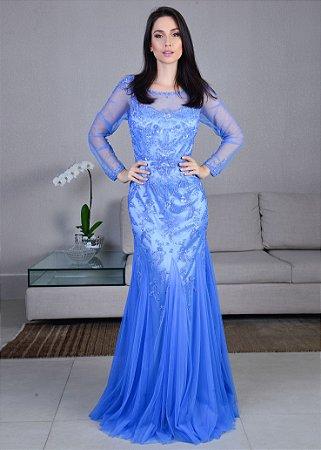 Vestido Longo de Tule Bordado Rosa Clará - Azul