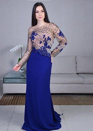 Vestido Longo de Crepe e Tule Bordado Pronovias - Azul Royal