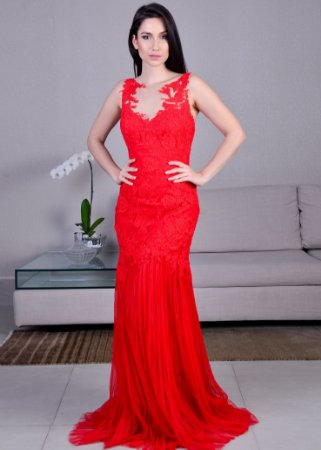 Vestido Longo de Tule Plissado com Renda Pronovias - Vermelho
