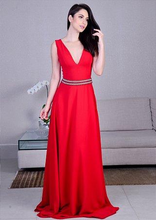 Vestido Longo de Crepe Arte Sacra Coutture - Vermelho