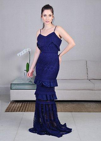 95914c7af9 Vestido Longo de Rendas em Camadas Unity Seven - Azul Royal