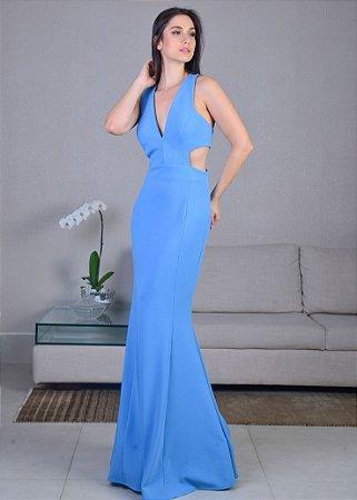 Vestido Longo de Crepe Unity Seven - Azul