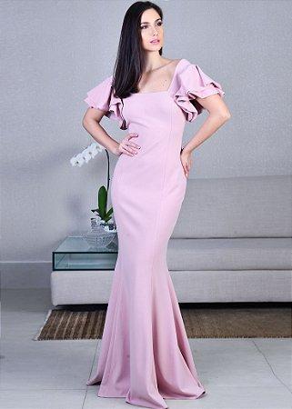 Vestido Longo de Crepe Unity Seven - Rosa