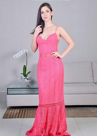 Vestido Longo de Renda Unity Seven - Pink