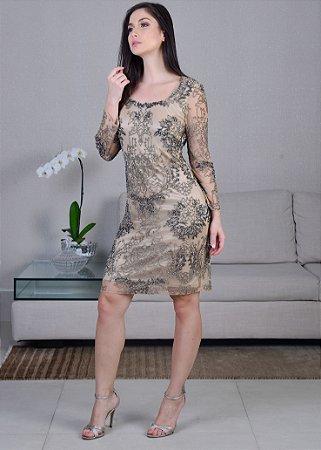 b4180bd180 Vestido Curto de Tule Bordado Rosa Clará - Prata e Nude