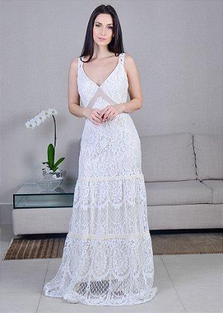 Vestido Longo de Renda UH Premium - Off White