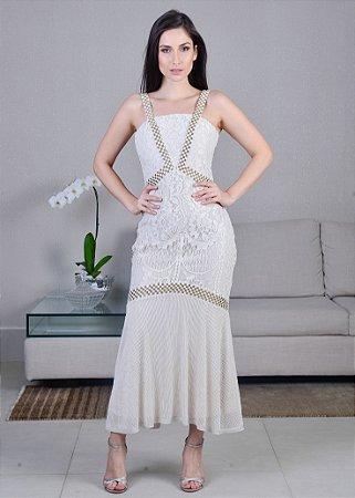 Vestido Midi de Renda UH Premium - Off White
