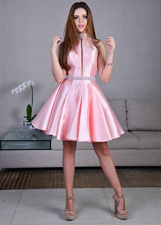 Vestido Curto Acetinado Rachel Allan - Rosa Blush