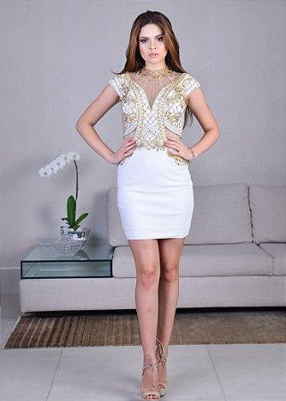 Vestido Curto Bordado Rachel Allan - Branco