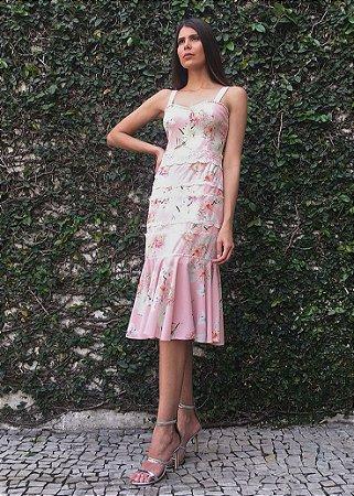 Vestido Midi Estampado Unity Seven - Rosa