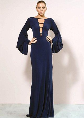 Vestido Longo de Malha Fria Unity Seven - Azul Marinho