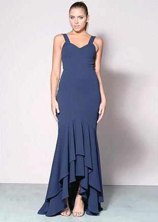 Vestido Longo de Malha com Saia Mullet Unity Seven - Azul