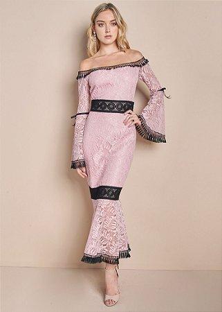Vestido Midi de Rendas Unity Seven - Rosa