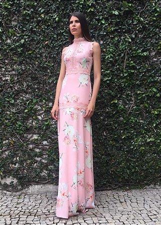 Vestido Longo de Musseline Unity Seven - Rosa Estampado