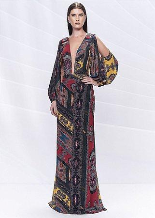Vestido Longo Manga Longa Arte Sacra Coutture - Estampado