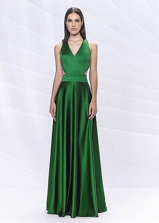Vestido Longo com Recortes Arte Sacra Coutture - Verde