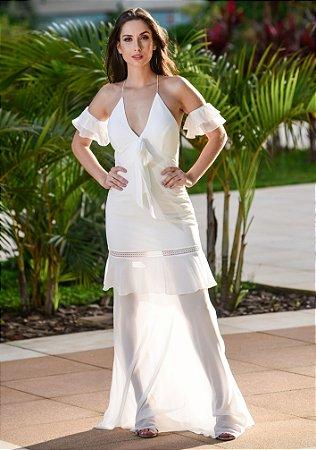 Vestido Longo Com Babados Arte Sacra Coutture - Off White