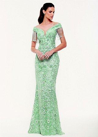Vestido Longo Bordado Kalandra - Verde