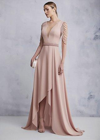 Vestido Longo Mangas de Pérolas Kalandra - Rosa