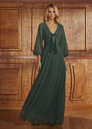 Vestido Longo Mangas Sino Agilità - Verde