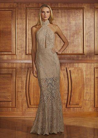 Vestido Longo De Renda Metalizada Fabulous Agilità - Dourado