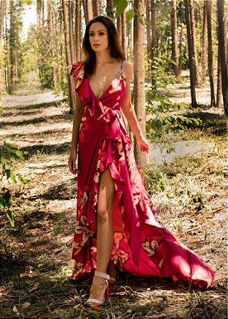 Vestido Longo Floral PatBo - Vinho