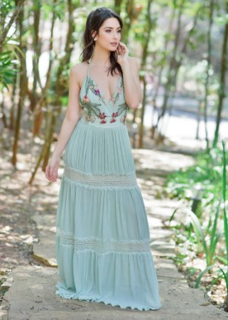 Vestido Longo Plissado Patrícia Bonaldi - Verde Claro