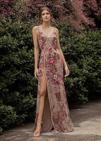 Vestido Longo Bordado Patrícia Bonaldi Rosa