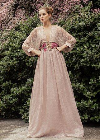 Vestido Longo Plissado Lurex Patrícia Bonaldi Rosa