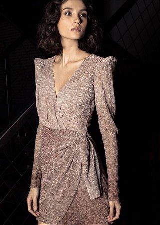 Vestido Curto Plissado Lurex PatBo - Rosa