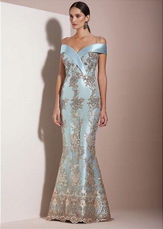 Vestido Longo Bordado Kalandra - Azul
