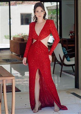 Vestido Longo de Paetês La Vita - Vermelho
