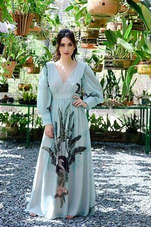 Vestido Longo PatBo - Azul Estampado