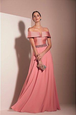 Vestido Longo Com Cinto Bordado Kalandra - Pink
