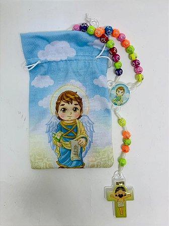 Terço Infantil Color com saquinho estampado - São Gabriel Arcanjo (3697)