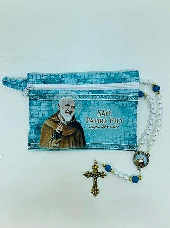 Terço São Padre Pio na bolsinha com zíper (8284)