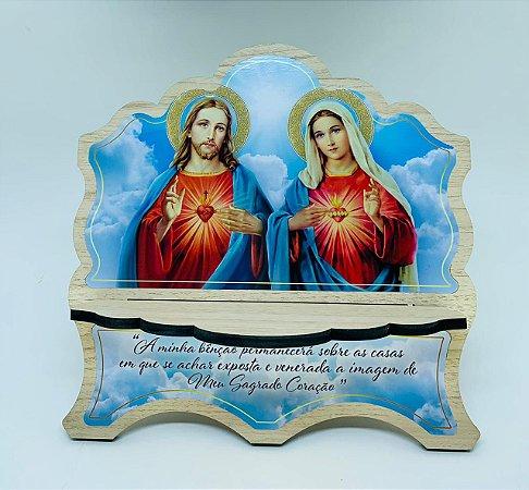 Porta Bíblia MDF Carvalho 6mm com foto Coração de Jesus e Maria (3752)