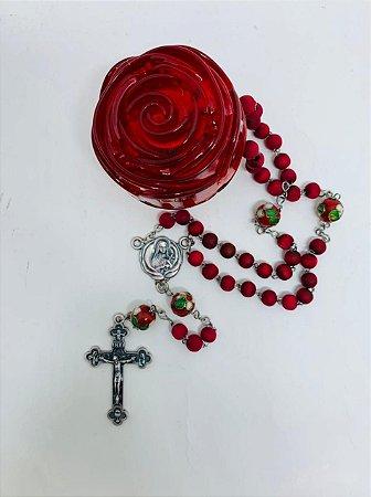 Terço de Rosas Inox 6mm PN Flor caixa Rosa Vermelha (5172)