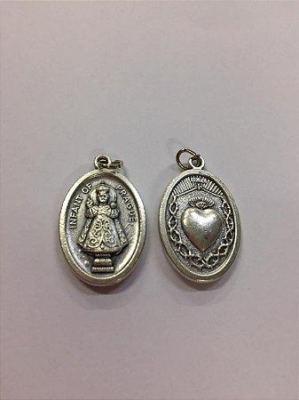 Medalha Italiana Menino Jesus de Praga / Coração (8327)