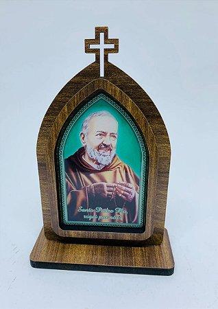 Capela 15cm madeira sem porta - São Padre Pio (723)