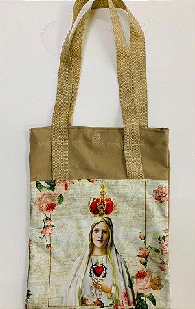 Bolsa com Alça em tecido 34 x 26 cm - Nossa Senhora de Fátima