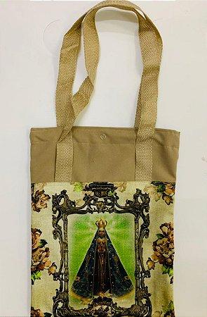 Bolsa com Alça em tecido 34 x 26 cm - Nossa Senhora Aparecida Fundo verde