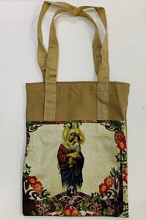 Bolsa com Alça em tecido 34 x 26 cm - Nossa Senhora Mãe de Deus