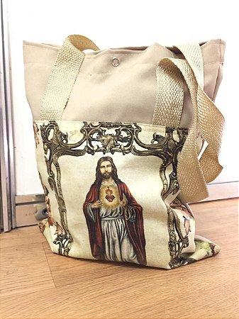 Bolsa com Alça em tecido 34 x 26 cm - Sagrado Coração de Jesus