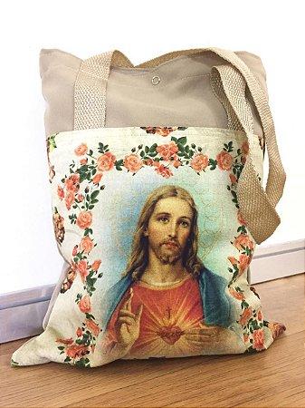Bolsa com Alça em tecido 34 x 26 cm - Busto Sagrado Coração de Jesus