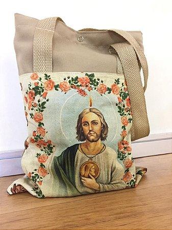 Bolsa com Alça em tecido 34 x 26 cm - São Judas Tadeu