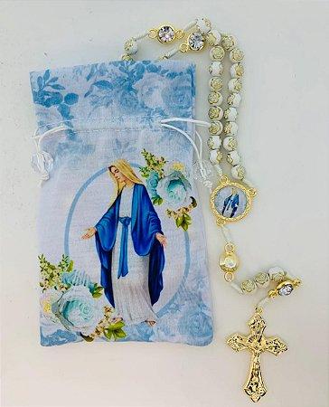 Terço Mãe de Deus no saquinho estampado - N. Sra. das Graças (8286)