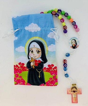 Terço Infantil Color com saquinho estampado - Santa Rita (3697)