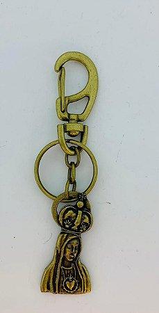Chaveiro Imaculado Coração de Maria Ouro Velho c/ mosquetão (8384)